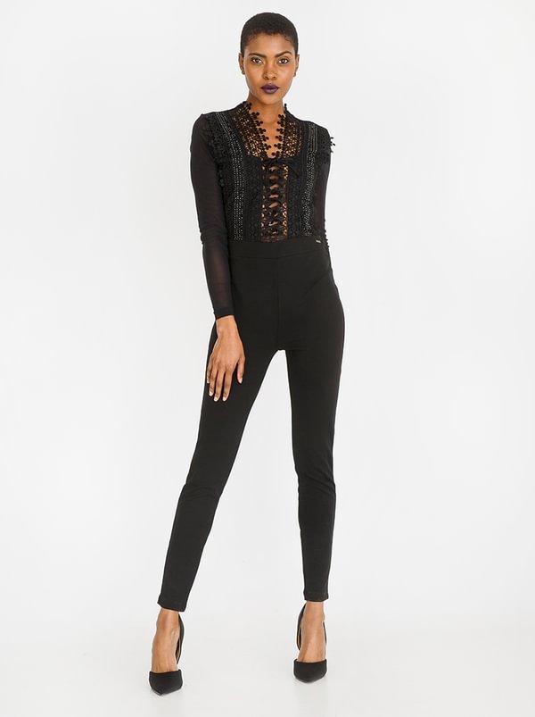 Lace-up Detail Jumpsuit Black | SISSY BOY