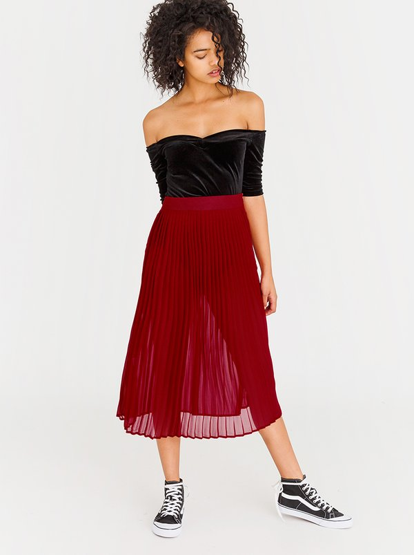 STYLE REPUBLIC Pleated Midi Skirt Red