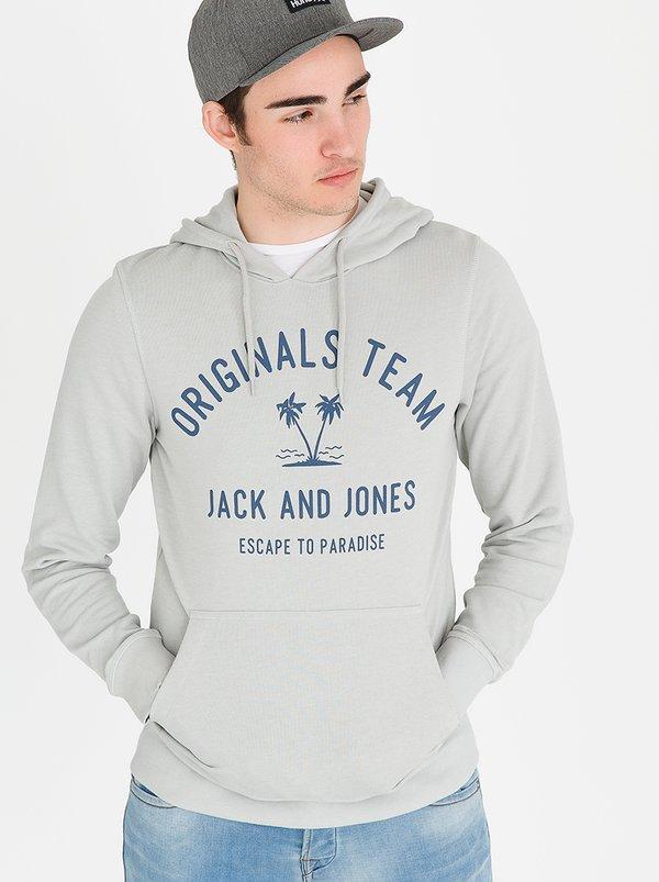 Tropical Sweat Hood Grey | JACK & JONES