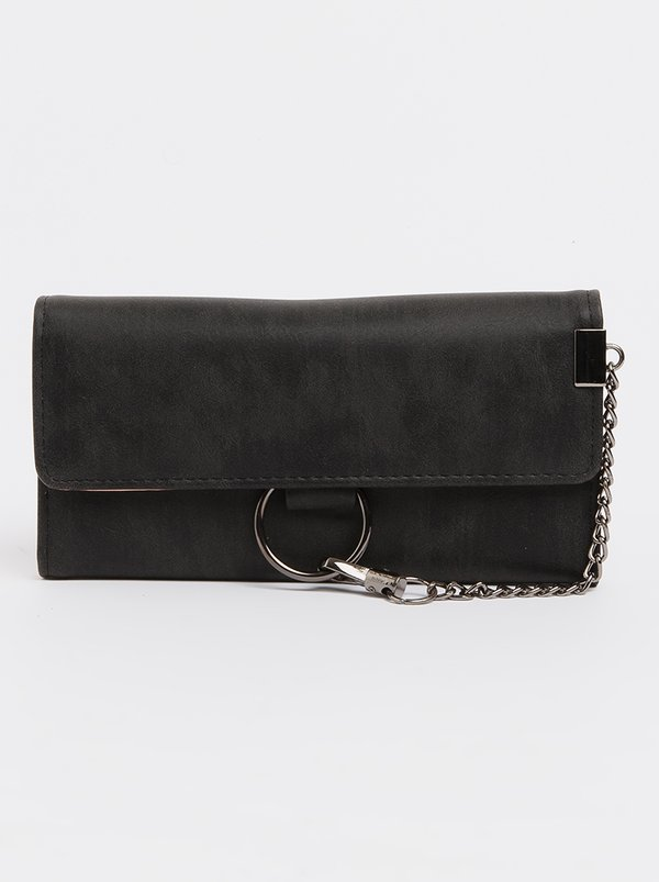 STYLE REPUBLIC Trifold Purse with Chain Detail Black