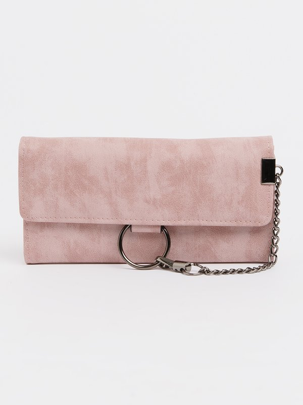 STYLE REPUBLIC Trifold Purse with Chain Detail Pale Pink