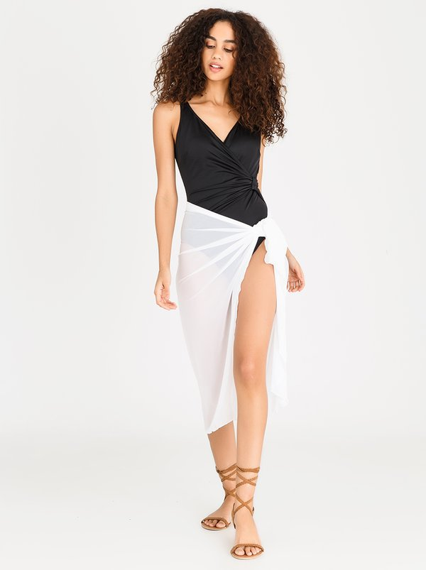 Sun Love Mesh Long Wrap Skirt White