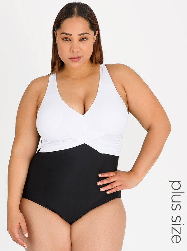 SALT Monotone Wrap-look One Piece Black and White