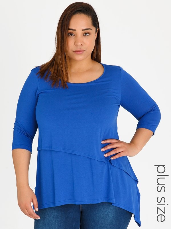 edit Plus Layered 3/4 Sleeve Top Blue