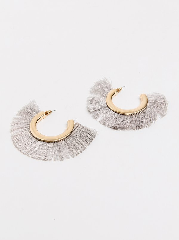 Joy Collectables Fringe Earrings Grey