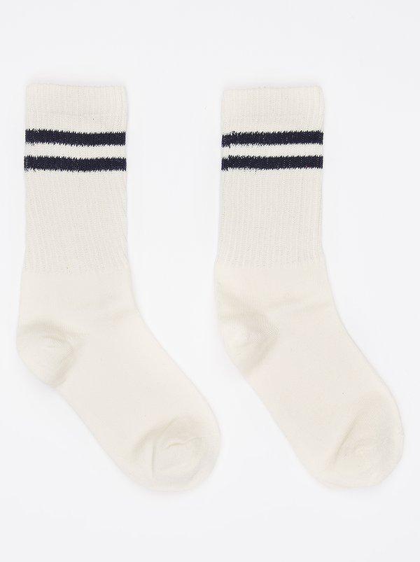 2-Stripe Cotton Socks Cream | STYLE REPUBLIC