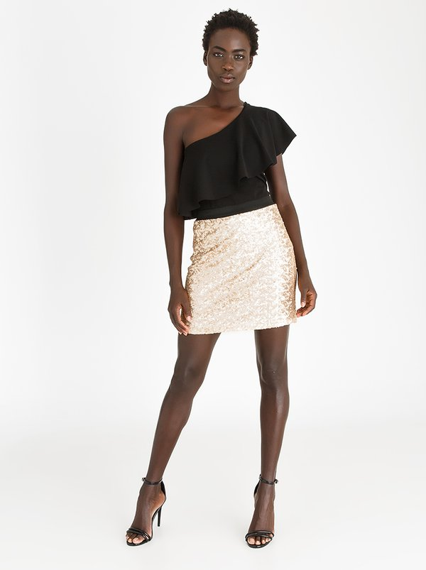 STYLE REPUBLIC Sequin Mini Skirt Gold
