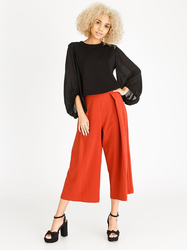Cropped Fold Over Pants Rust | STYLE REPUBLIC