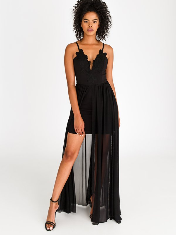 SISSY BOY Lace Detail Maxi Dress Black