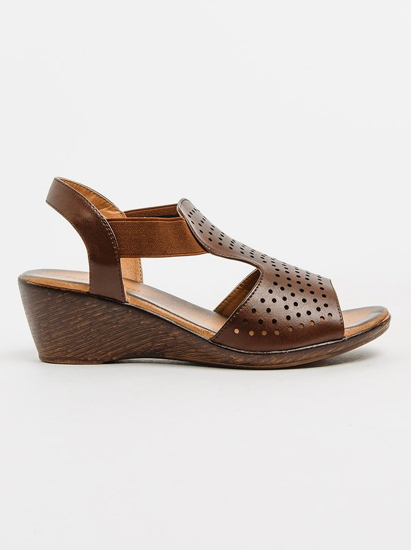 Franco Ceccato Franco Rossi T-bar Slingback Wedges Brown