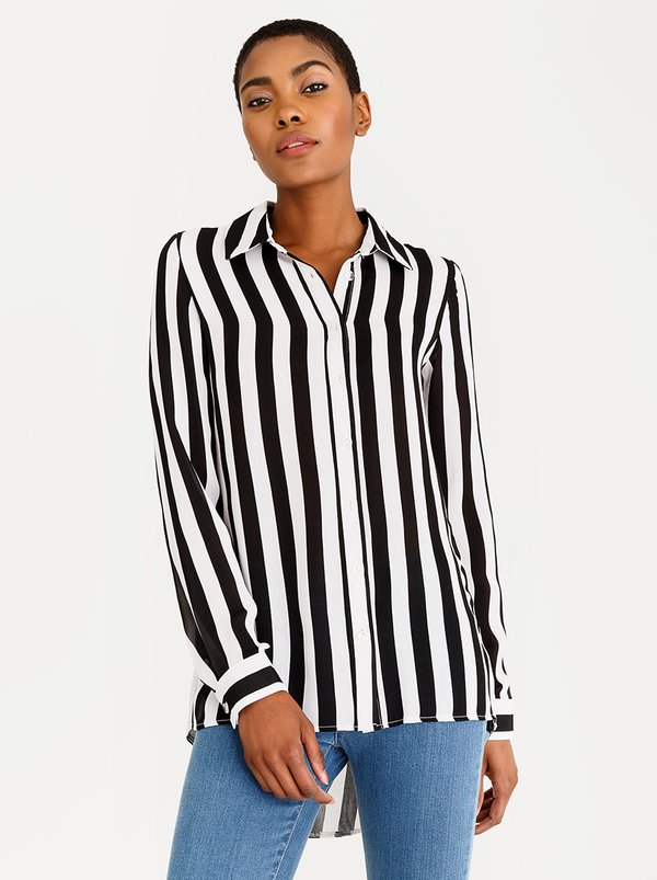 edit Long Sleeve Button Down Blouse Black and White