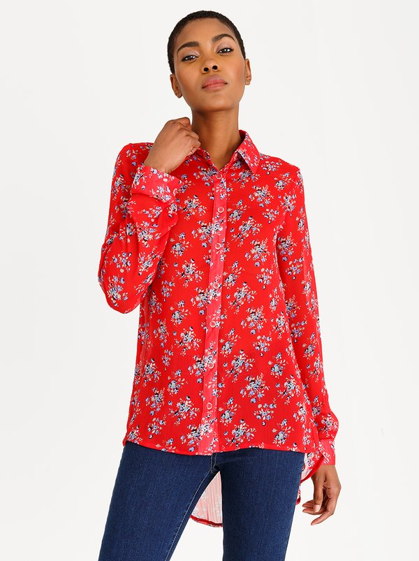 edit Long Sleeve Button Down Blouse Red
