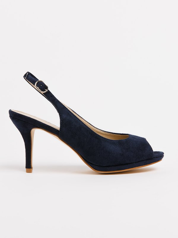 Queue Platform Slingback Heels Navy