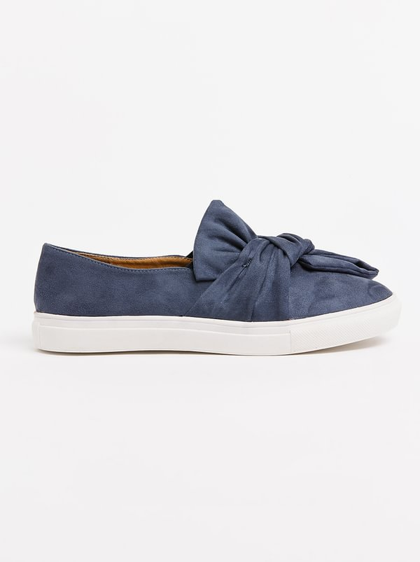 Wild Alice by Queue Bow Detail Slip-Ons Navy