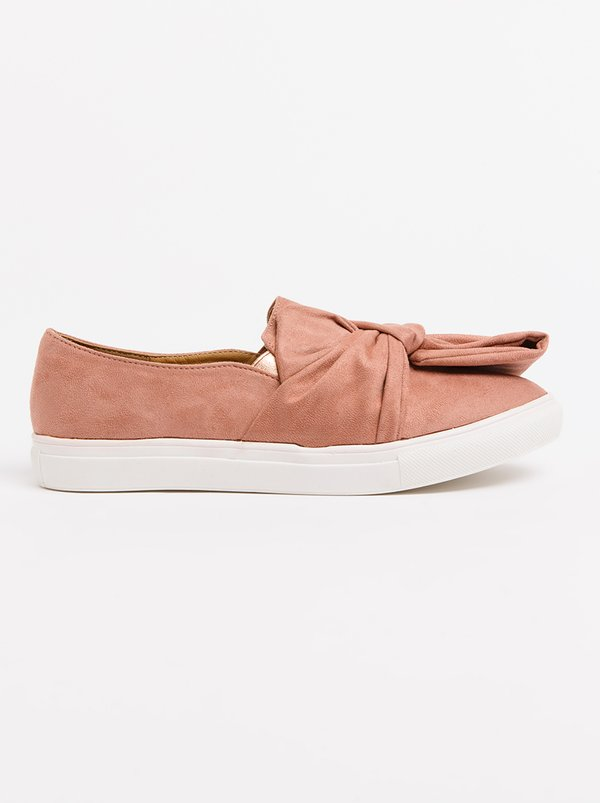 Wild Alice by Queue Bow Detail Slip-Ons Pale Pink