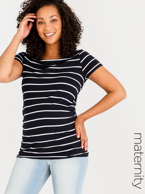 Cherry Melon Striped Boatneck Top Navy White