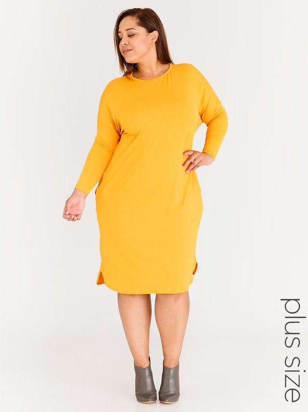 Style Republic Plus Long Sleeve T Shirt Dress With Pockets