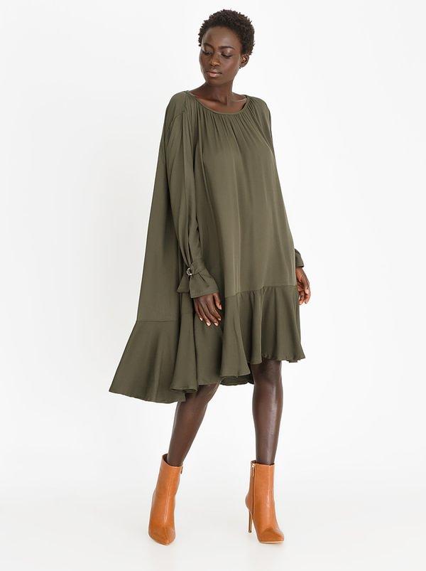 Volume Frill Dress Khaki Green | STYLE REPUBLIC