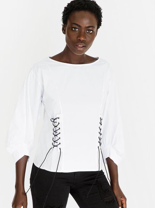 Lace-up Blouse White | STYLE REPUBLIC