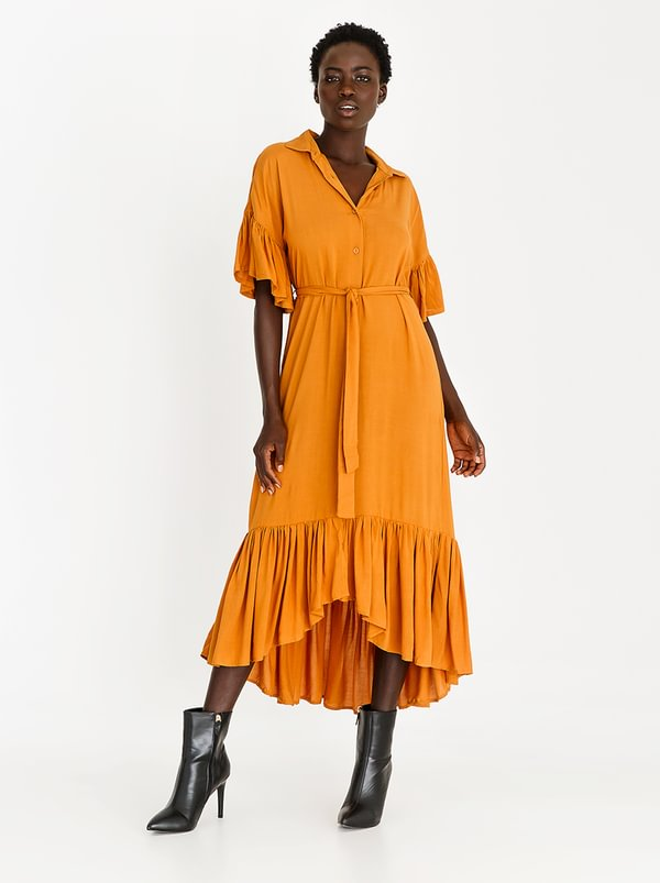 Frill Shirt Dress Yellow | STYLE REPUBLIC