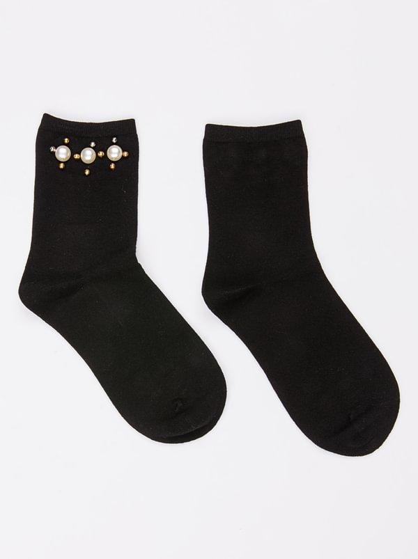 Pearl Trim Socks Black | STYLE REPUBLIC