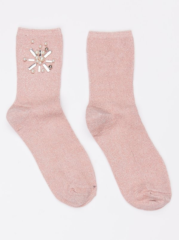 Diamante and Pearl Lurex Socks Pale Pink | STYLE REPUBLIC