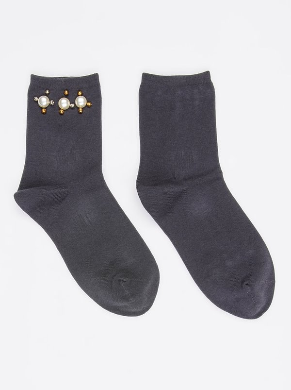 Pearl Trim Socks Dark Grey | STYLE REPUBLIC