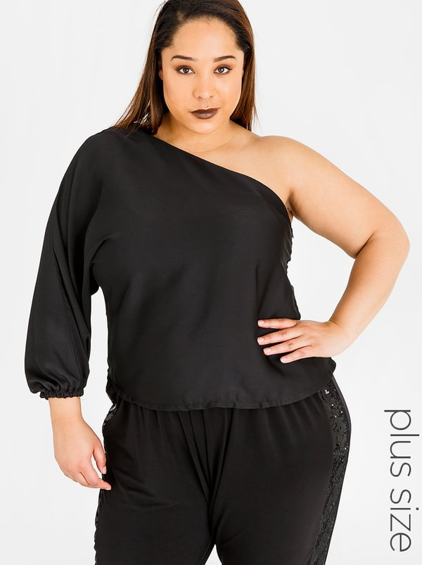RUFF TUNG One Shoulder Top Black