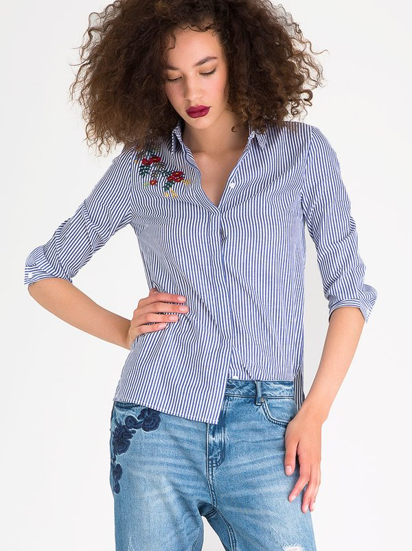 ONLY Drive Embroidery Detail Shirt Blue