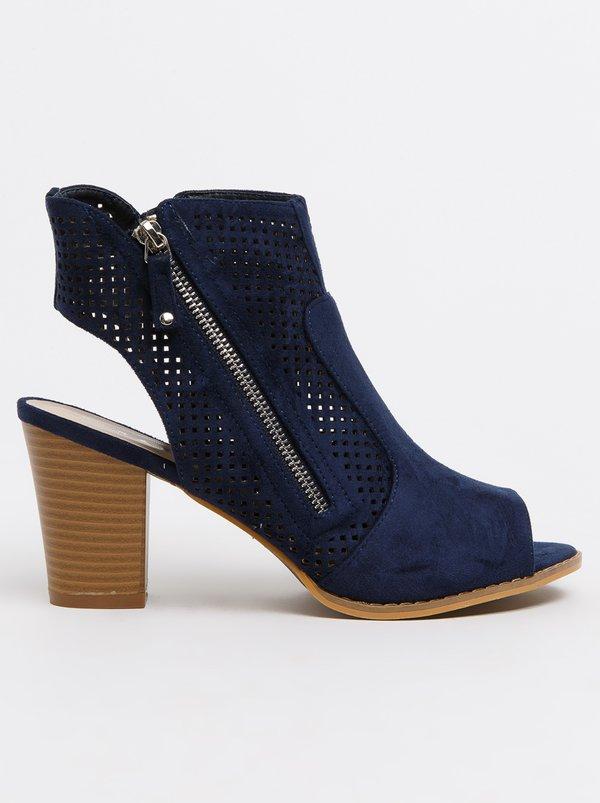 SOA SOA Samantha Block Heel Peep Toe Shoes Navy discount footaction F5zkU5c
