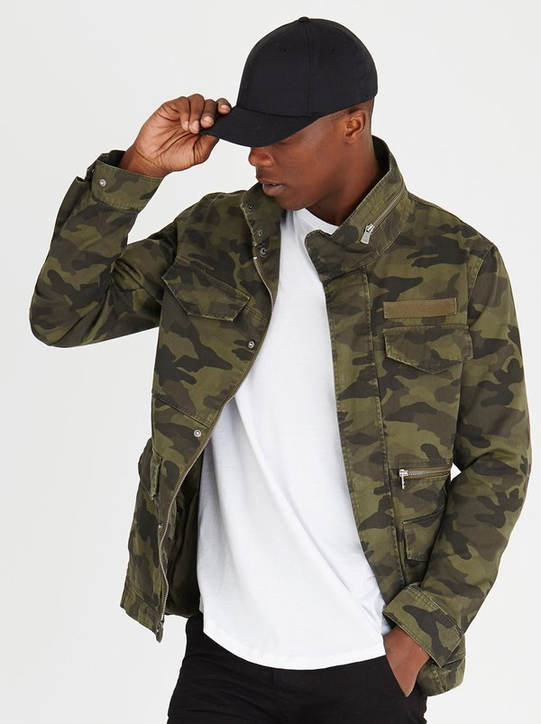 Only Amp Sons Military Utility Camo Jacket Dark Green F93v3p4 Spree Co Za