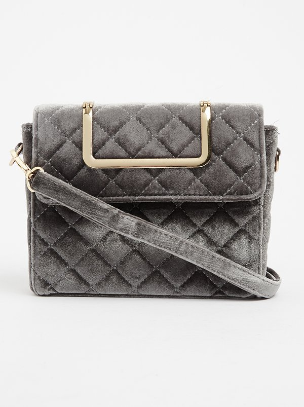 STYLE REPUBLIC Velvet Quilted Cross-body Bag Grey