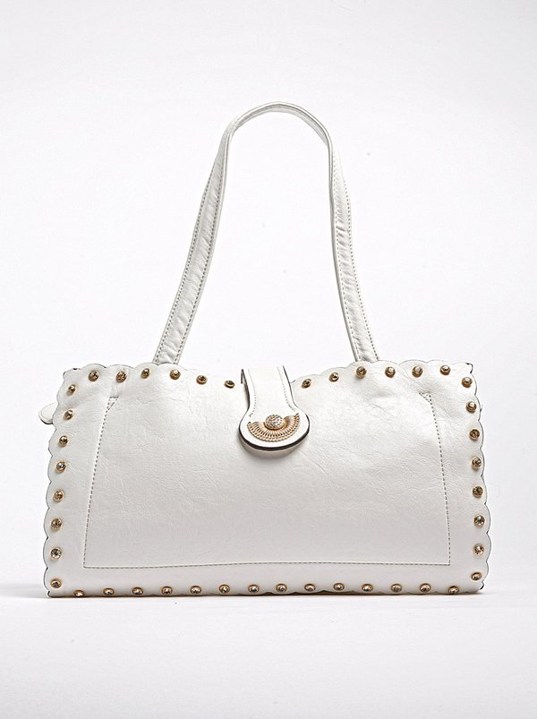 Parco Collection Structured Bag with Stud Detail White