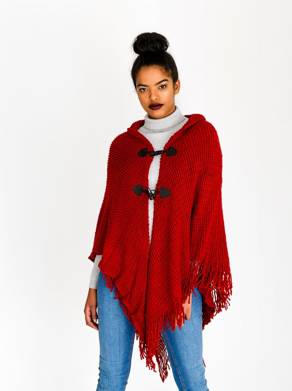 BLACKCHERRY Toggle Button Poncho Red