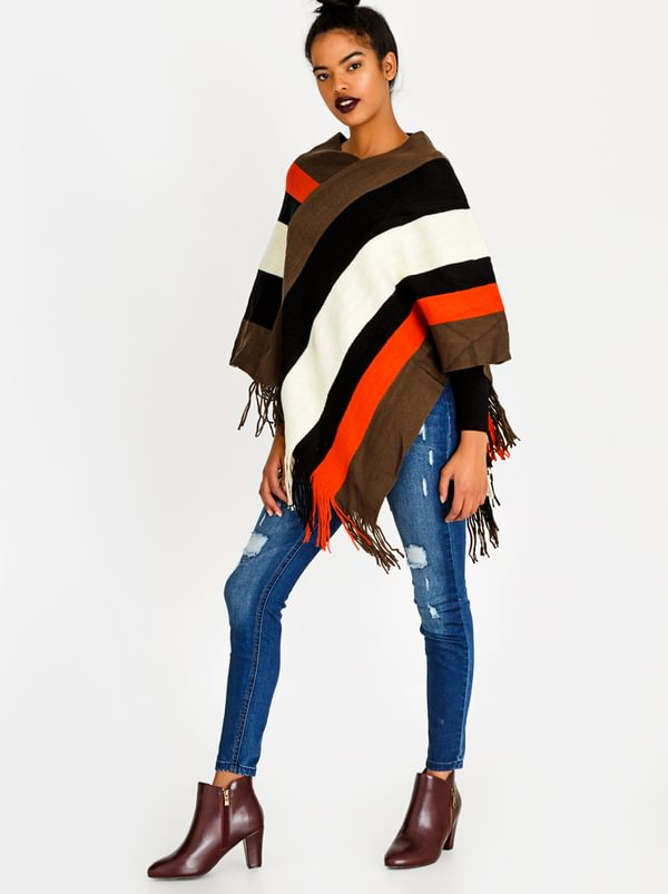 BLACKCHERRY Striped Poncho Multi-colour
