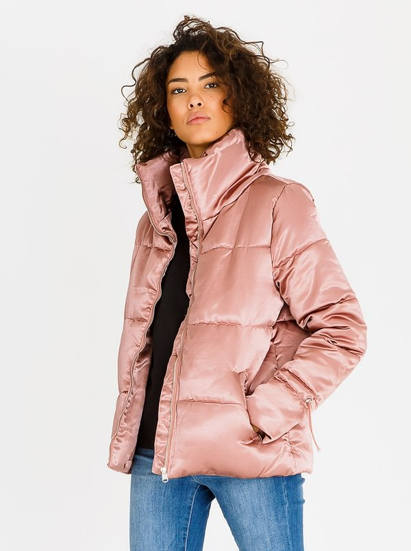 Satin Quilted Puffer Jacket Pale Pink | Tokyo Laundry