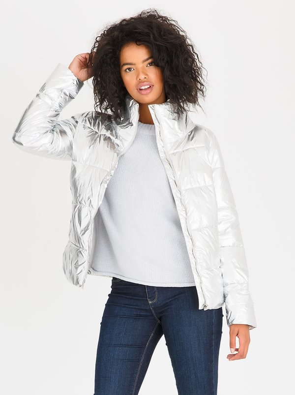 Quilted Puffer Jacket Silver | Tokyo Laundry