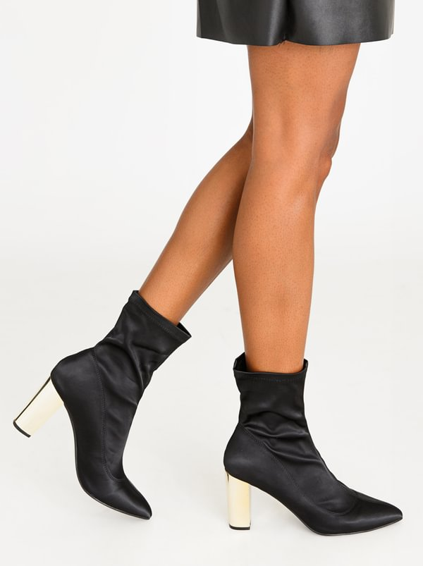 Munich Block Heeled Sock Ankle Boots Black | Dolce Vita