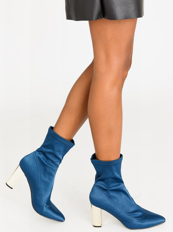 Munich Block Heeled Sock Ankle Boots Blue | Dolce Vita