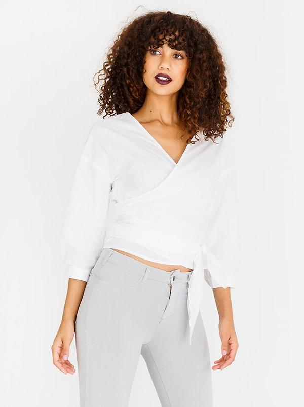 Girl Boss Wrap Blouse Off White | SISSY BOY