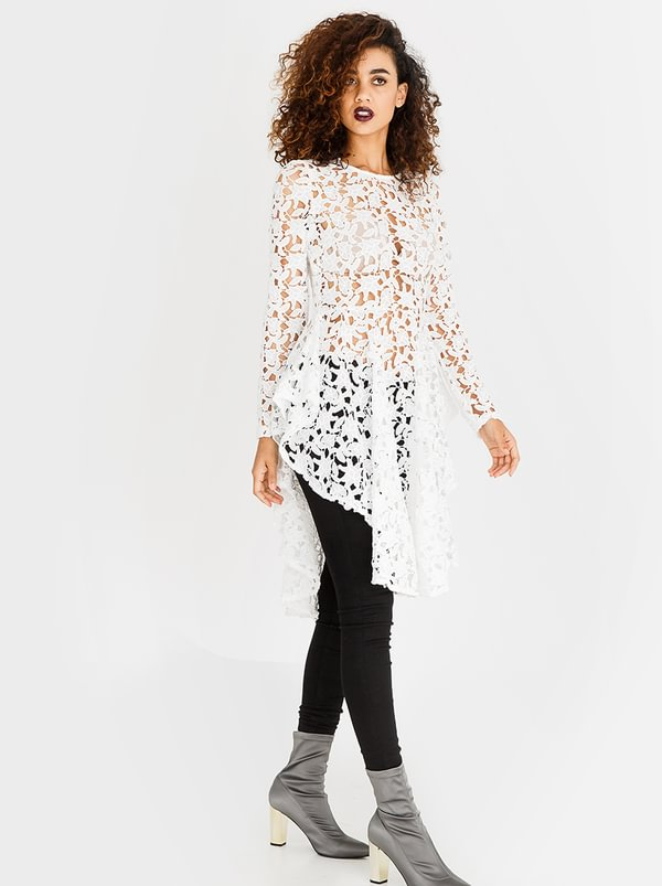 Lace Tunic with Ruffle Skirt White | Revenge