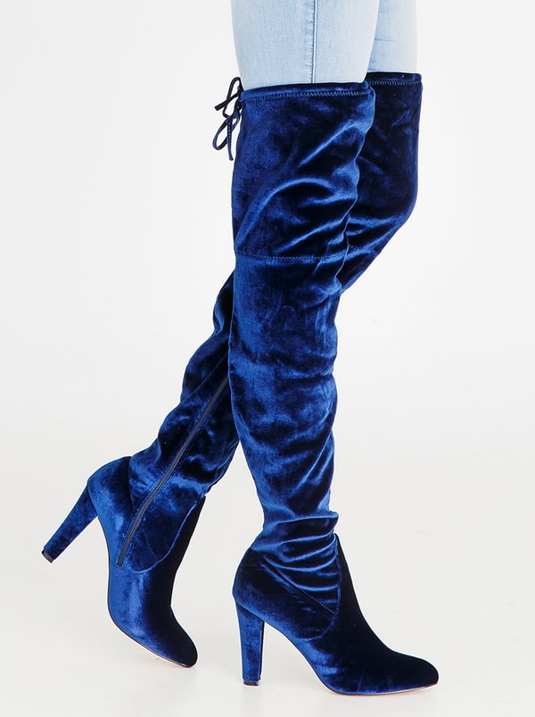 SISSY BOY Heeled Thigh High Boots Navy