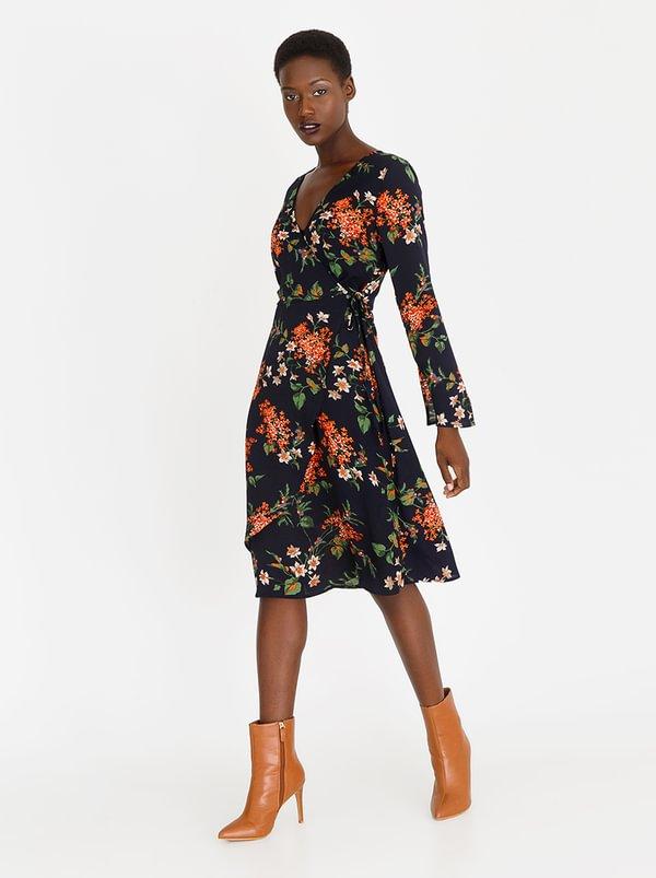 Wrap Floral Midi Dress Navy | Revenge