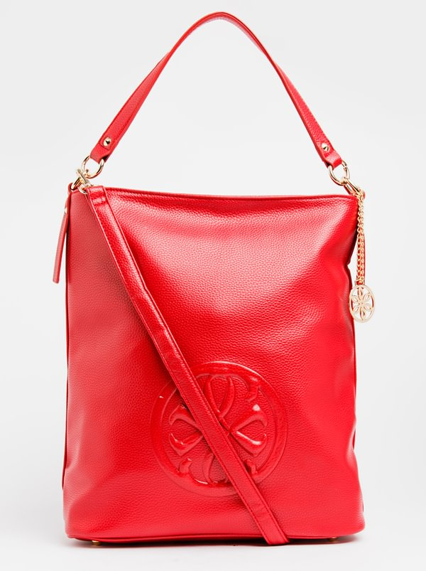 Queue Embossed Hobo Bag Red