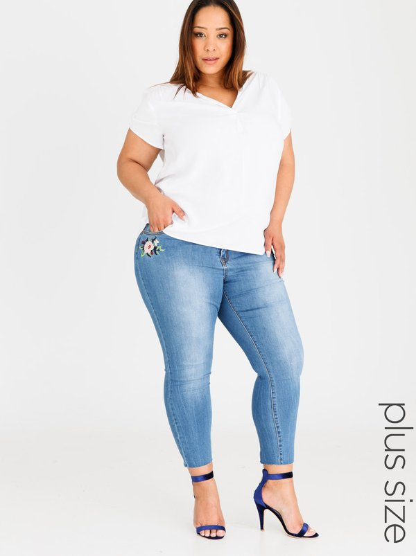Brave Soul Dahila Embroidered Pocket Jeans Blue