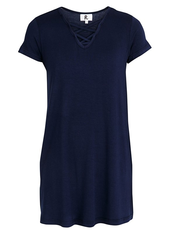 Rebel Republic Criss Cross Front A-line Dress Navy
