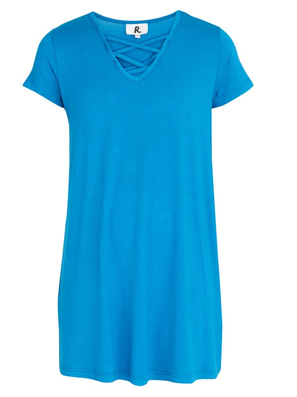 Rebel Republic Criss Cross Front A-line Dress Mid Blue