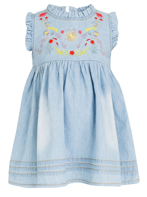 POP CANDY Denim Embroidered Dress Blue
