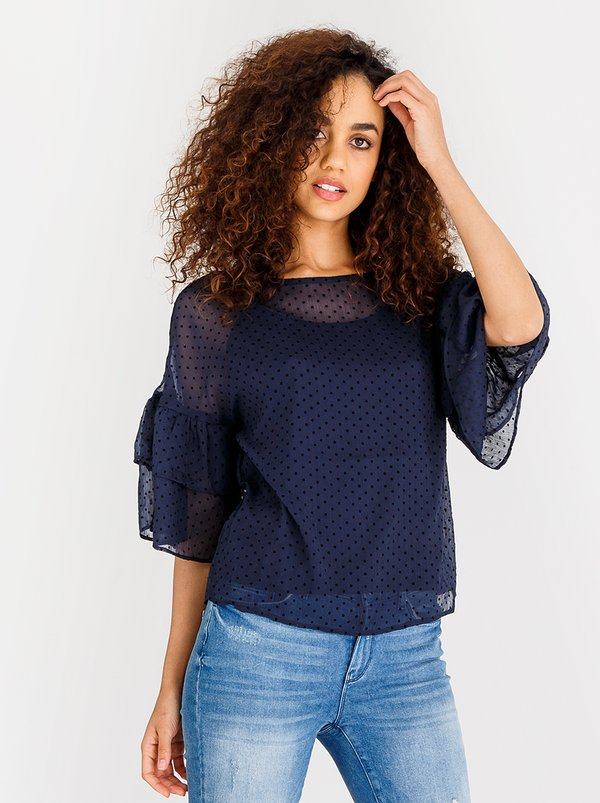Vero Moda Flocks 3/4 Frill Top Navy
