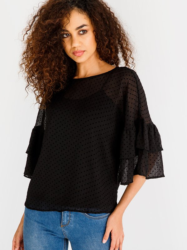 Vero Moda Flocks 3/4 Frill Top Black